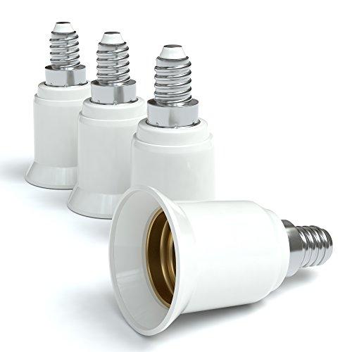 4x Lampensockel Adapter – Konverter für E14 Fassung auf E27 | Lampenadapter für LED-/Halogen- und Energiesparlampen | Sockeladapter von EAZY CASE, weiß