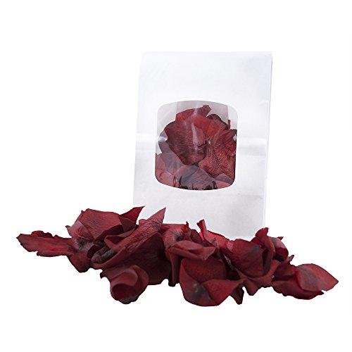 Rosenblüten getrocknet, für Blumenkinder, Deko bei der Hochzeit, 15g echte Rosenblätter für Valentinstag, Liebeserklärung, Heiratsantrag, rot