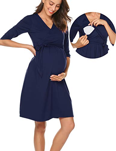 Women's Maternity Lang Sleeve Dresses Maternity Dress Mama Scoop Neck Baby Shower Pregnancy Dress