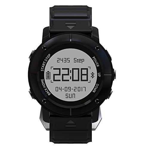 XHL Art Smartwatch Männer GPS-Sport mit Herzfrequenz-Monitor SOS Stoppuhr Kompass Bluetooth UW80 Smart-Uhren PK S968 S222 UW80C UW90,Black