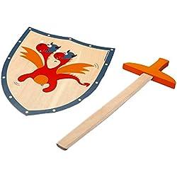 Juego Justo tiene caballeros! Espada de madera con el dragón rojo escudo / escudo aprox 29 x 34 cm / 54 cm espada