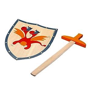 Scratch Juego Justo Tiene Caballeros! Espada de Madera con el dragón Rojo Escudo / Escudo Aprox 29 x 34 cm / 54 cm Espada