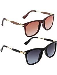 Gansta UV Protected Combo Of Jet Black & Brown Wayfarer Sunglasses For Men & Women (GN11096-Gun-GD-Brn|54|Black...