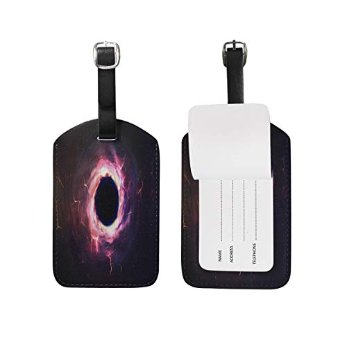Abstract Universe Outer Space Black Luggage Tag for Baggage Suitcase Bag Travel Label Leather 1 Piece Set