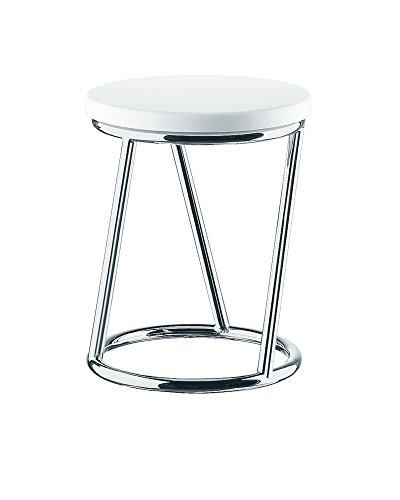 Nicol Badhocker Sally im außergewöhnlichem Design, Sitzhocker Stahl hochwertig verchromt Edelstahl-Optik, geprüfte Sicherheit TÜV-Zertifiziert, Chrom, weiß, 37.0 x 37.0 x 46.5 cm