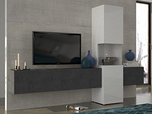 Wohnwand | Mediawand | Wohnzimmer Schrank | Fernseh Schrank | TV Lowboard |  Weiß Hochglanz | Modern | Hängend | Glas Vitrine | Grau | Tecnos | Incontro