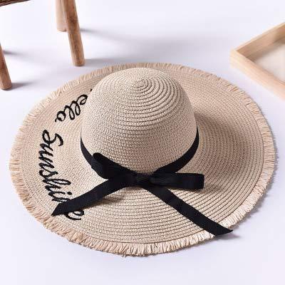 ZXL Hut handgemachte Webart Brief Sonnenhüte für Frauen Black Ribbon Lace Up große Krempe Strohhut Outdoor Strand Hut Sommer Caps -