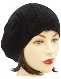 Fine knit BERET hat BLACK