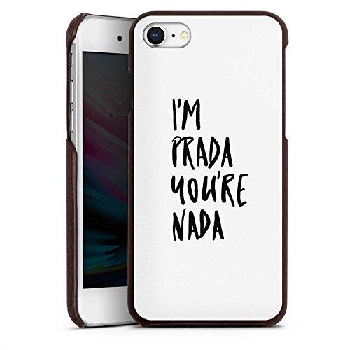 DeinDesign Apple iPhone 8 Lederhülle braun Leder Case Leder Handyhülle Prada Luxus Statements