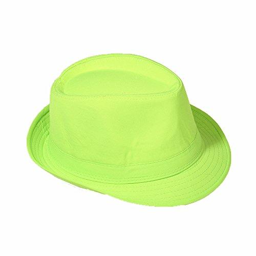 Strohhut Panama Fedora Trilby Gangster Hut Sonnenhut mit Stoffband Farbe:-Grün Gr:-58 (Grüner Hut)