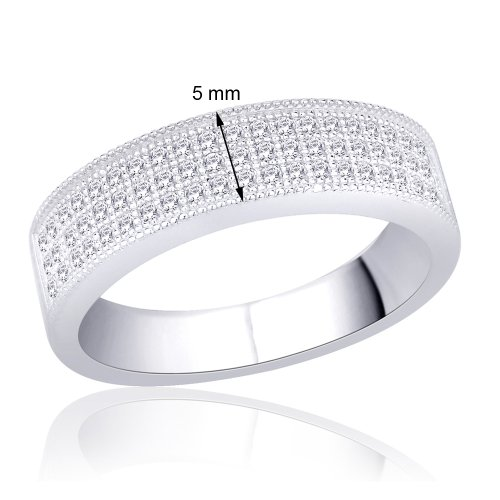 Peora Sterling Silver Rhodium 3 Row Micro Pave Set Cubic Zirconia Milgrain Band Ring