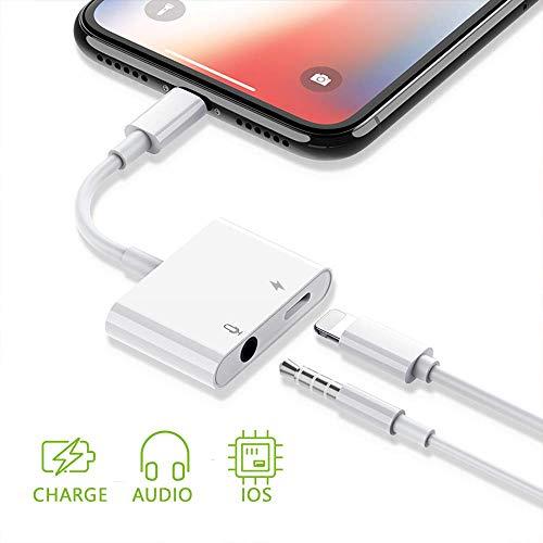 Kopfhörer-anschluss (Kopfhörer auf 3,5 mm Adapter, FLYHANA 2 in 1 Kopfhöreradapter 3,5 mm Kopfhörer-Audio-Ladeadapter Kopfhörer-Splitter AUX-Anschluss Ladekabel ersetzen für 8/8 Plus Phone 7/7 Plus / Phone X)