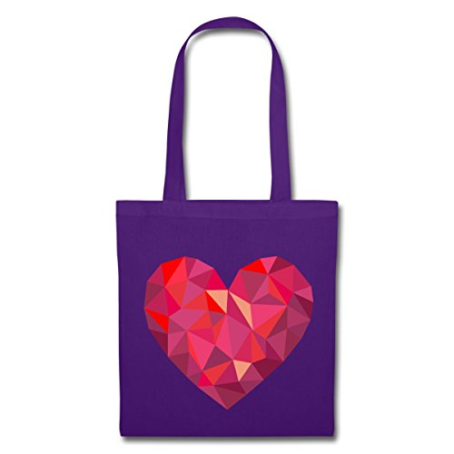 Spreadshirt Valentines Day Cuore Geometrico Tessuto Borsa In Poli Basso Viola