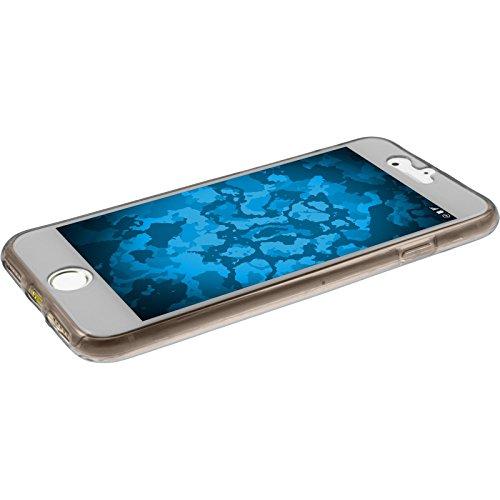 PhoneNatic Case für Apple iPhone 7 Hülle Silikon clear 360° Fullbody Cover iPhone 7 Tasche Case Grau