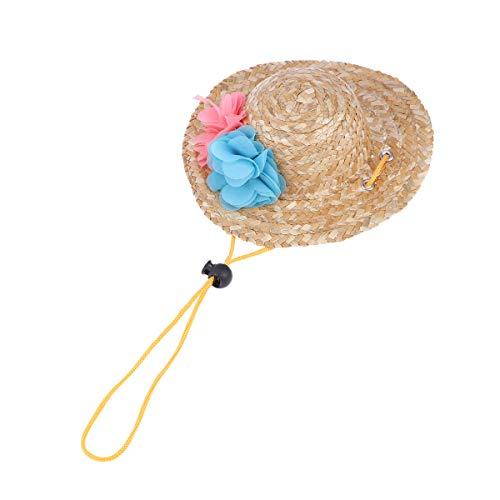 Balacoo Hund Strohhut Sonnenhut Mini Hund Sombrero Hut mit Blume verstellbare Schnur für Haustier Hund Katze Party Hüte (zufällige Farbe) (Mit Hund Sombrero)