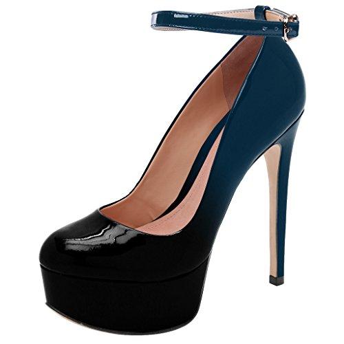Guoar High Heels Große Größe Abendschuhe Round Toe Lack Ankle Strap Pumps mit Plateau Club Party Hochzeit Schwarz Und Blau