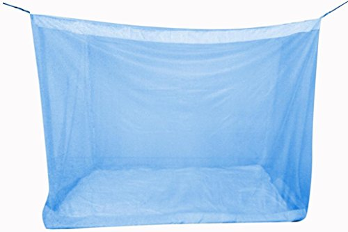 Elegant Double Border 6.5*6.5 Feet Polynet Double Bed Mosquito Net- Blue
