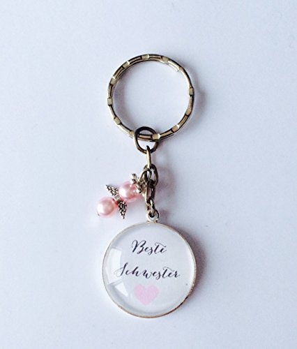 Handgemachter Cabochon Schlüsselanhänger Beste Mama, mit Schutzengel, perfekt als Geschenk zu Weihnachten, Muttertag, Geburtstag (Beste Schwester rosa)