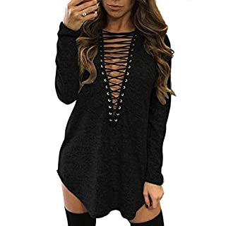 Yidarton Damen Minikleid Lace-Up Lange ?rmel Tiefe V-Ausschnitt Mini Hemdkleid Tops Bluse