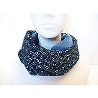 7fe42f23b26a snood femme velours bleu jean et satin losanges, écharpe infinie a motifs  geometriques, tour