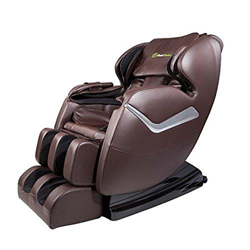 Real Relax Massagesessel, Zero Gravity für Ganzkörper, mit Heizung und Fußrollen, Braun