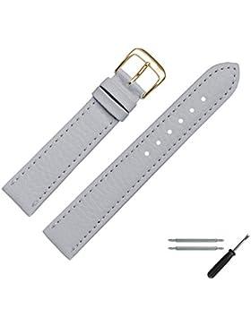 MARBURGER Uhrenarmband 20 mm Leder Grau - Vegan - Inkl. Zubehör - Ersatzarmband, Schließe Gold - 5202015000220