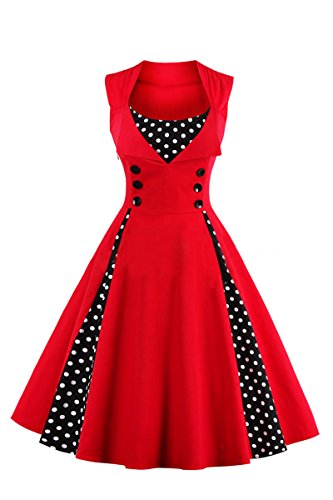 YMING Women Pinup Polka Dot Vintage 1950s 1960s Sleeveless Rockabilly Dress Swing Prom Dress Polka Dot,Red,L / UK 14