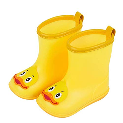 Kolylong Unisex Kids Wellies Infant Kids Children Baby Cartoon Duck Rubber Waterproof Warm Boots Rain Shoes