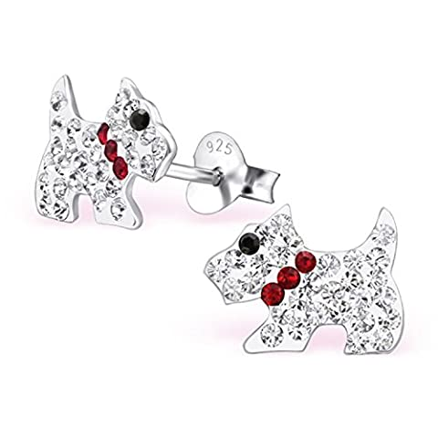 Sparkling Crystal Scottie Dog / Scottish Terrier Earrings with a Red Collar 925 Stamped