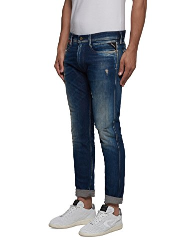 Replay Herren Jeanshose Anbass Coin Zip Blau (Blue Denim 7)