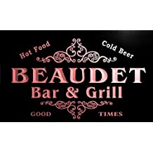 u02821-r BEAUDET Family Name Bar & Grill Cold Beer Neon Light Sign Enseigne Lumineuse