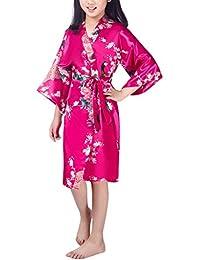 Niña Pavo Real y Flores Satén Kimono Albornoces Pijamas Lencería Lingerie Camisón Camiseta Vestido Niños Chicas Satinado Camisones Noche…