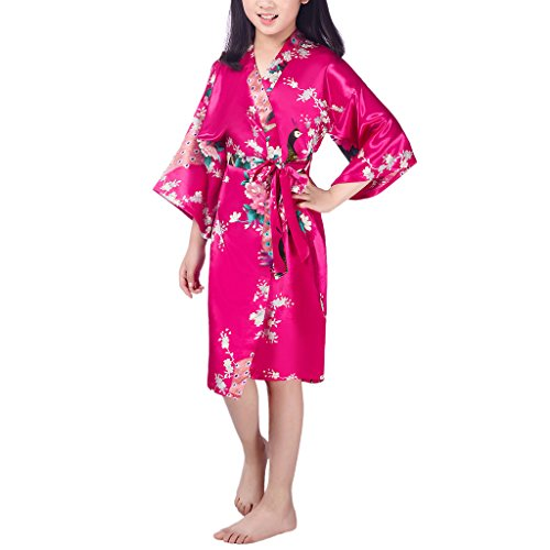 Waymoda Girls Luxury Silky Satin Evening Dressing Gown, Kids Peacock and Blossoms Pattern Kimono Robe, 10+ Color, 6-14 Year Old Sizes Optional - RoseRed