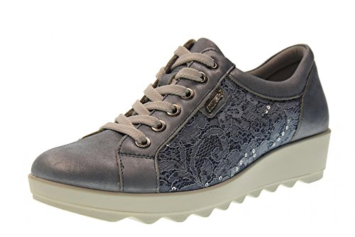 Enval soft 12688 Jeans Scarpa Donna Sneaker Pelle e Pizzo Made In Italy