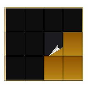 FoLIESEN Fliesenaufkleber 20x25 cm - Fliesen-Folie Bad - Klebefolie Küche - schwarz glänzend - 30 Klebefliesen