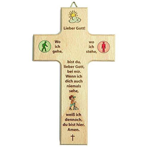 kruzifix24 Devotionalien Kinderkreuz Motiv Ampelmännchen rot grün & Gebet Wo du gehst, wo du stehst Holz Taufkreuz Geburt 20 x 12 cm