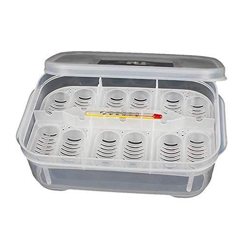 Thermometer-box (FOONEE Reptile Breeding Box Reptilieninkubator Reptilieneibrutkasten Brutbehälter 12 Eierlöcher Mit Thermometer Zum Schlüpfen Von Schlangen, Echsen, Reptilien)