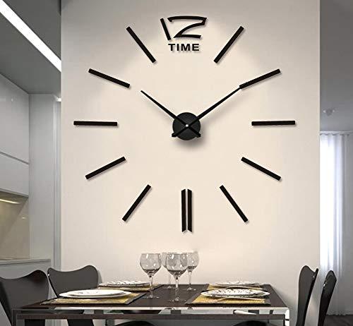 Fas1 grande orologio da parete moderno diy adesivo 3d stickers numeri romani orologio da parete, rimovibile decorazione per casa ufficio, batteria non inclusa (nero)