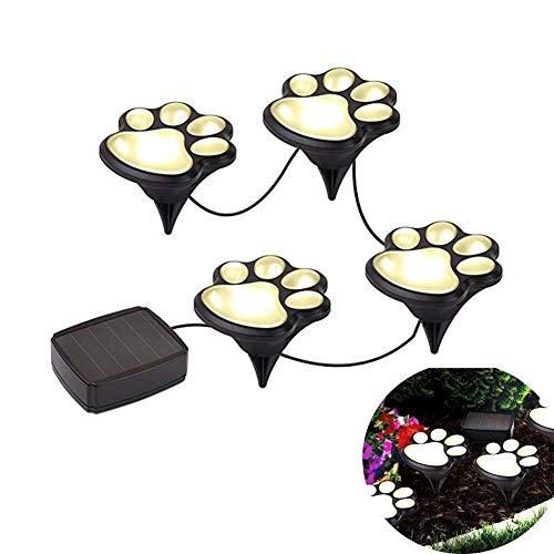 YOSPOSS Outdoor Solar Lichter, Pfotenabdruckmotiv, ky3566-y252LED Decor Rasen Garten-Landschaft Beleuchtung, Hund Bär Puppy Pet Animal Pfoten Lampe für Yard Pool Partys (Set von 4)