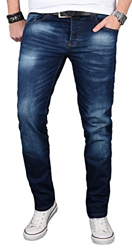 Alessandro Salvarini Designer Herren Jeans Hose Regular Slim Fit Jeanshose Basic Stretch [AS-058 - W34 L34] , Dunkelblau Washed