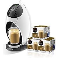 Pack De'Longhi Dolce Gusto Jovia EDG250.W - Cafetera de cápsulas, 15 bares de presión, color blanco + 3 packs de café Dolce Gusto Con Leche