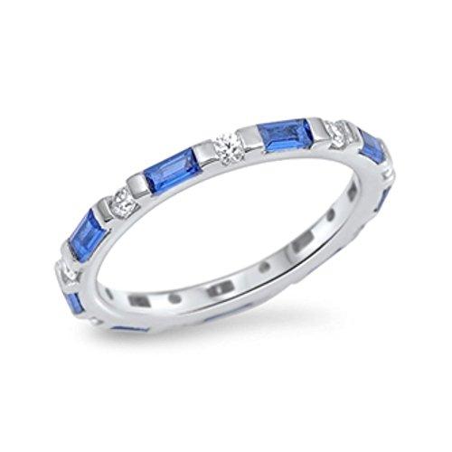 Ring aus Sterlingsilber mit Zirkonia (Ring 14k Männer Für Stein Gold Blau)