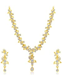 Sukkhi Pretty Gold Plated AD Necklace Set For Women