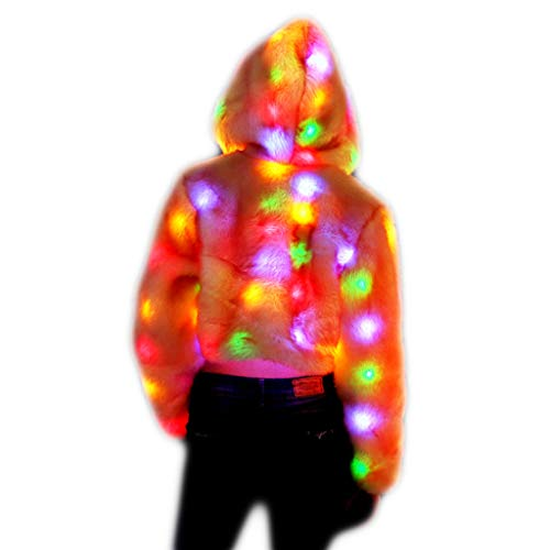 TINGSHOP Kapuzenjacke Mit LED-Leuchten, Frauen Kunstpelz Weiche Jacke Led Blinklicht Winter Warme Rosa Mantel Oberbekleidung Pelzjacke Parkas Für Halloween Christmas Party - La Parka Halloween Kostüm