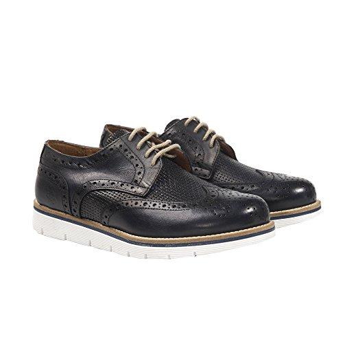 UominiItaliani - Chaussures élégant en cuir avec lacets pour homme Made in Italy - Mod. 5736 308 Bleu Marine
