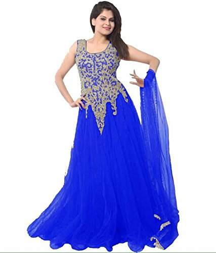 FebForrest Womens\'s Royal Blue Soft Net Attractive Indo-Western Dress Materials/Salwar Suit (Free Size) [JCN 1077 (FF_C1)]