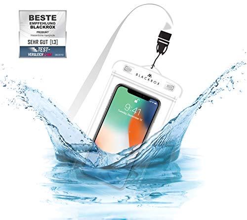 BLACKROX wasserdichte Handyhülle - Handyschutz Wasserfeste Handytasche Cover Beutel Beachbag Tasche Handy Hülle Waterproof Case iPhone X/XS 8 7 6s Samsung S10 S9 S8 S7 (Weiss)