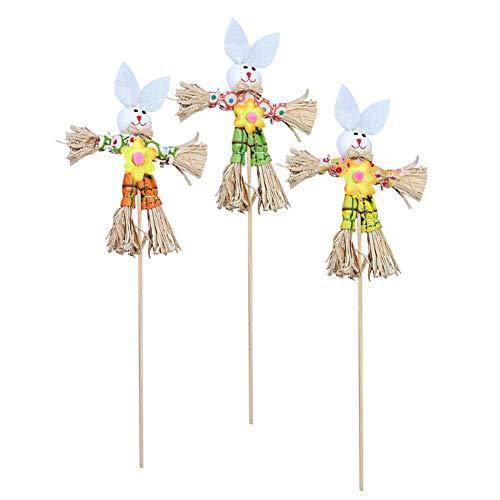 (3Pcs Ostern-Party Ornament Kaninchen Ernte Vogelscheuche auf Stake Fest-Versorgungsmaterial-Kind-Raum-Kaninchen Scarecrow)