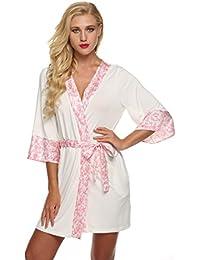 Ekouaer Kimono Robe de Chambre Femme Nuit Sexy Courte Taille 32-50 XS-XL