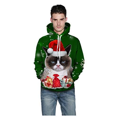 41esRqRmUcL - UFODB Christmas Sweater Herren Damen Männer Weihnachten Sweatshirt Pullover Merry Rentier Pulli Print Jumper Kapuzenpullover Hoodie Langarm Xmas Top